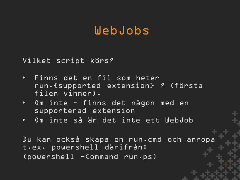 Vilket script körs. •Finns det en fil som heter run.{supported extension} .