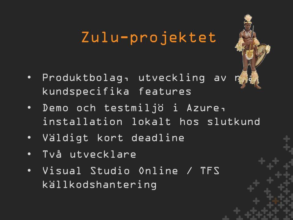 •Produktbolag, utveckling av nya kundspecifika features •Demo och testmiljö i Azure, installation lokalt hos slutkund •Väldigt kort deadline •Två utvecklare •Visual Studio Online / TFS källkodshantering Zulu-projektet