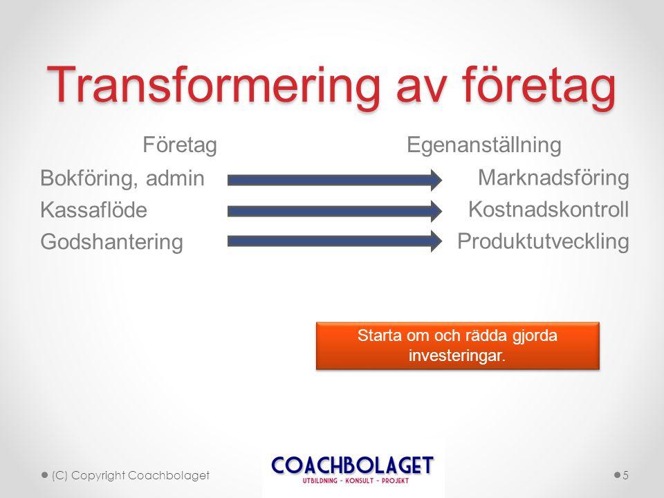 Transformering av företag Företag Egenanställning (C) Copyright Coachbolaget5 Bokföring, admin Kassaflöde Godshantering Marknadsföring Kostnadskontrol