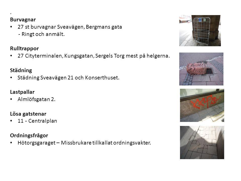 Burvagnar • 27 st burvagnar Sveavägen, Bergmans gata - Ringt och anmält.