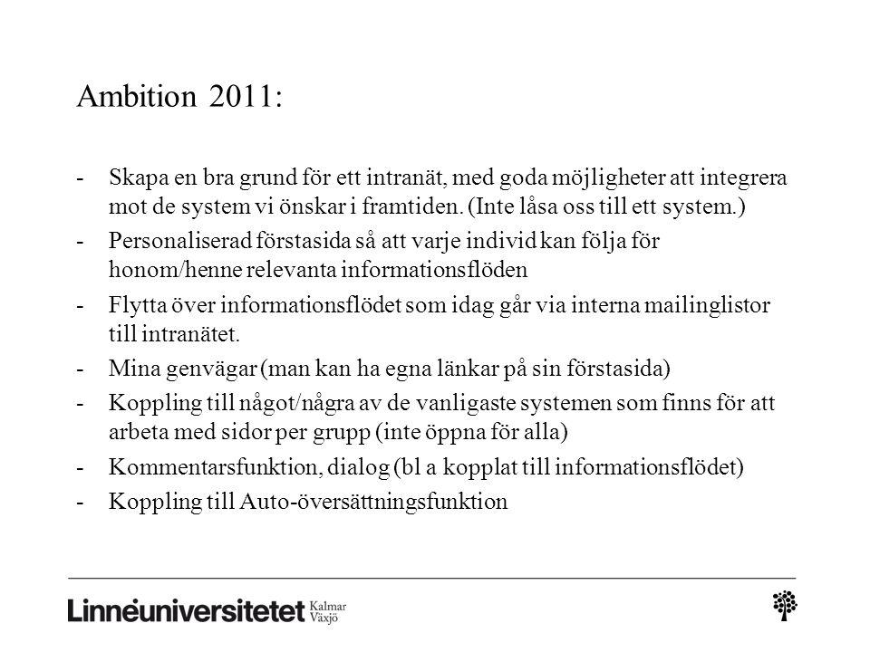 Ambition 2011: -Skapa en bra grund för ett intranät, med goda möjligheter att integrera mot de system vi önskar i framtiden. (Inte låsa oss till ett s