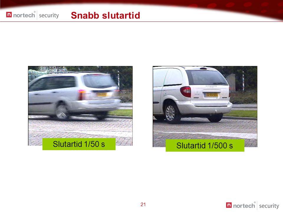 Snabb slutartid 21 Slutartid 1/50 s Slutartid 1/500 s