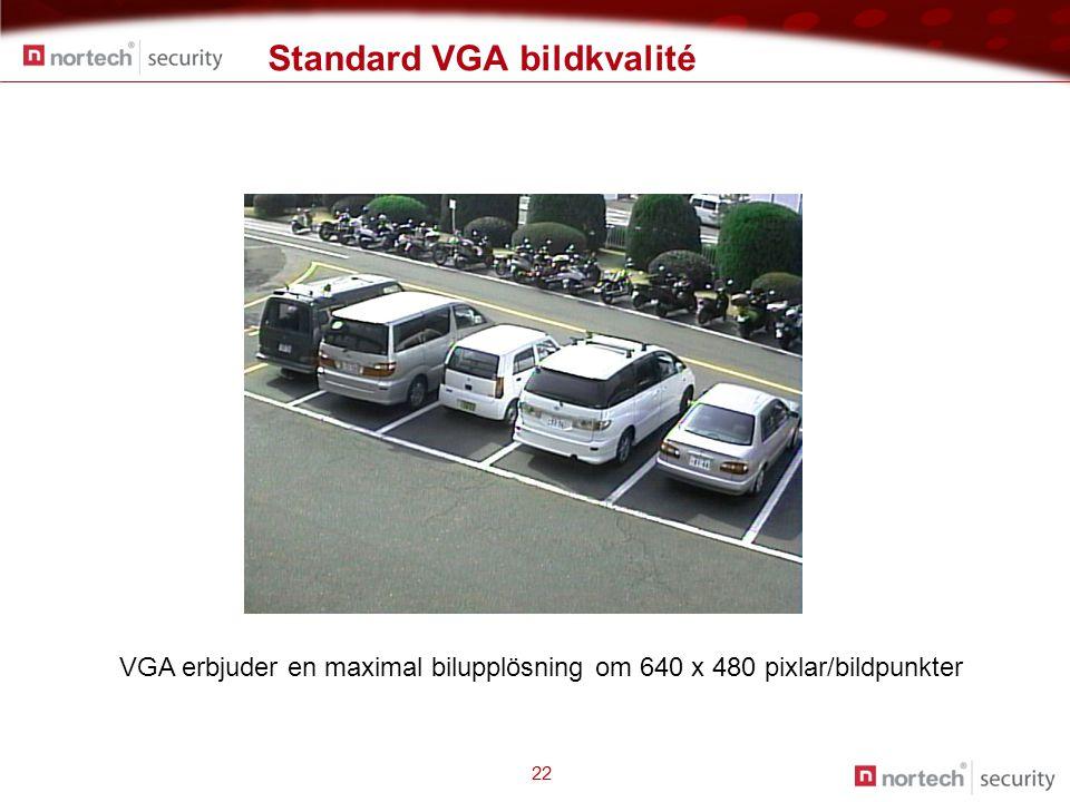 Standard VGA bildkvalité 22 VGA erbjuder en maximal bilupplösning om 640 x 480 pixlar/bildpunkter