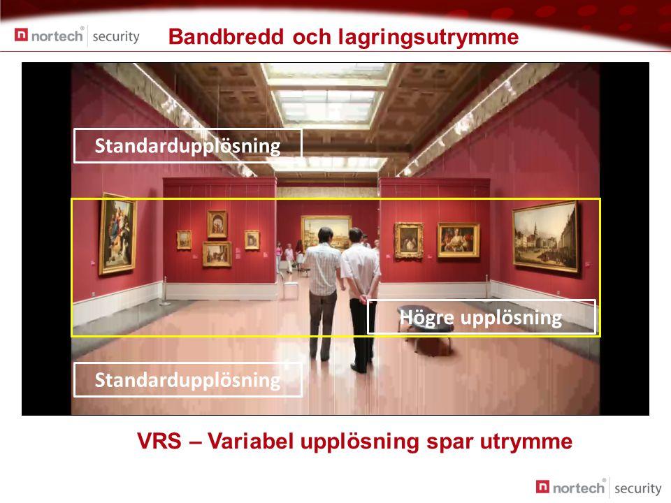 Bandbredd och lagringsutrymme Standardupplösning Högre upplösning VRS – Variabel upplösning spar utrymme
