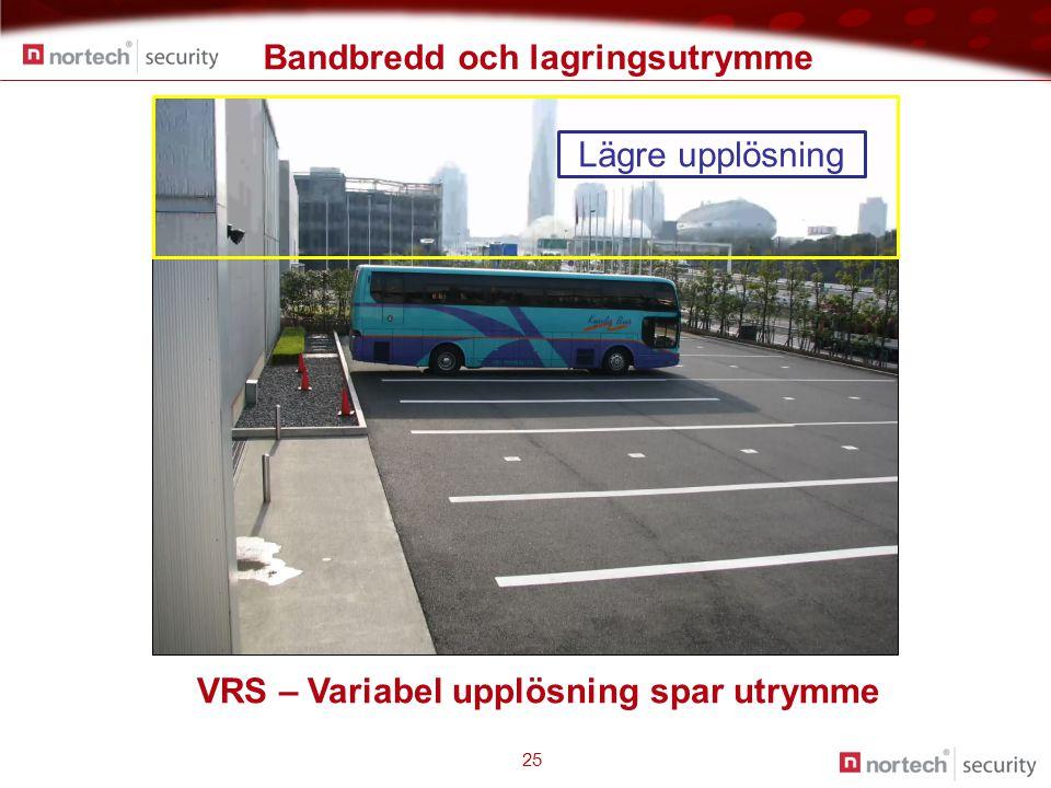Bandbredd och lagringsutrymme 25 Lägre upplösning VRS – Variabel upplösning spar utrymme