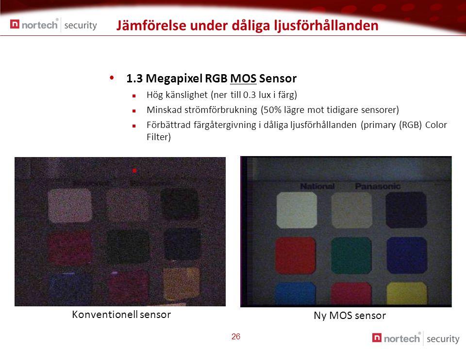 Jämförelse under dåliga ljusförhållanden 26 Konventionell sensor Ny MOS sensor  1.3 Megapixel RGB MOS Sensor  Hög känslighet (ner till 0.3 lux i färg)  Minskad strömförbrukning (50% lägre mot tidigare sensorer)  Förbättrad färgåtergivning i dåliga ljusförhållanden (primary (RGB) Color Filter) .