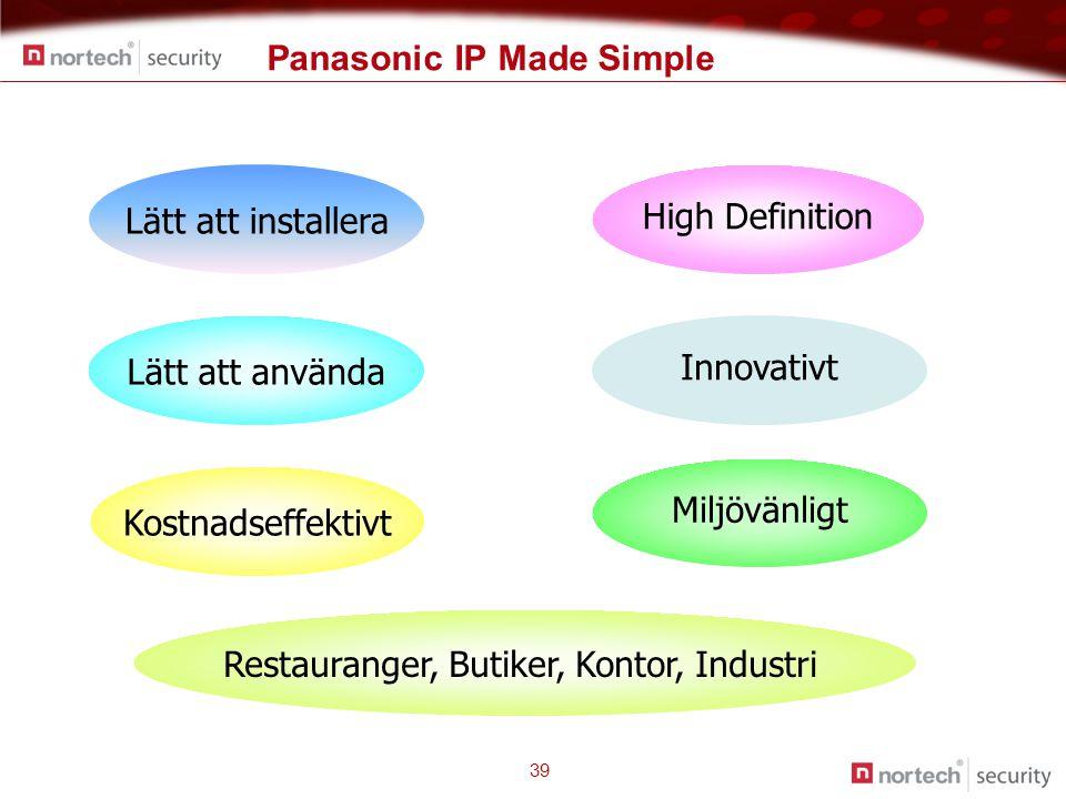 Panasonic IP Made Simple 39 Lätt att installera Lätt att använda Kostnadseffektivt High Definition Restauranger, Butiker, Kontor, Industri Innovativt Miljövänligt