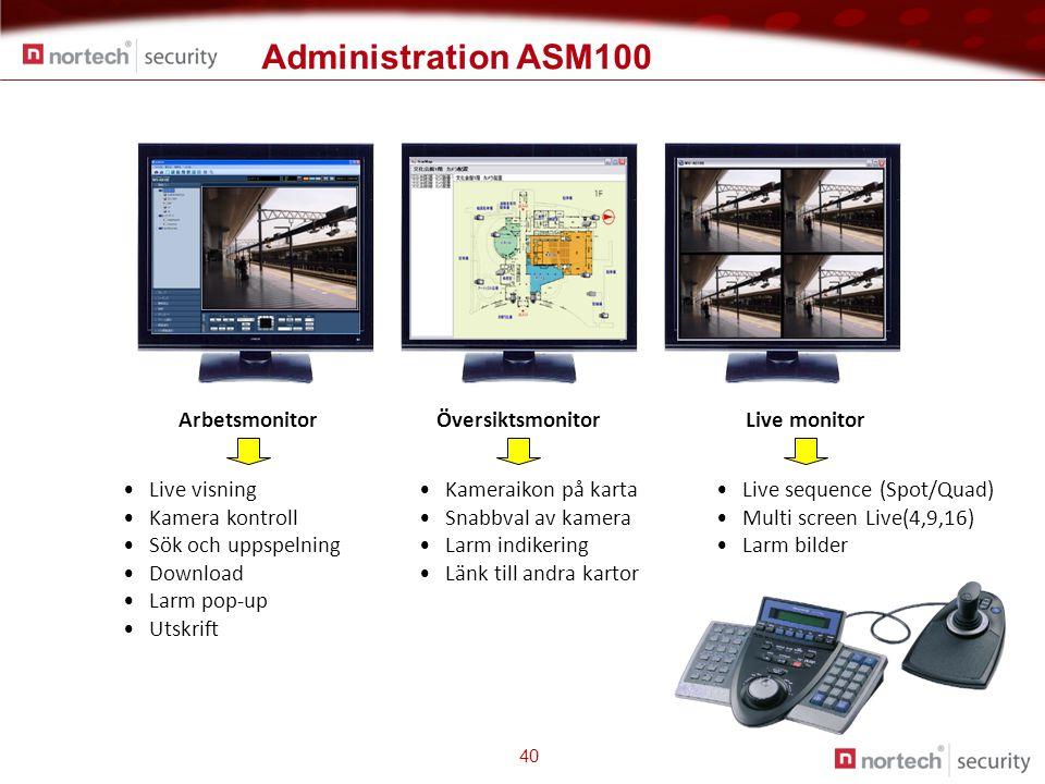 Administration ASM100 40 ArbetsmonitorLive monitor • Live visning • Kamera kontroll • Sök och uppspelning • Download • Larm pop-up • Utskrift • Live sequence (Spot/Quad) • Multi screen Live(4,9,16) • Larm bilder • Kameraikon på karta • Snabbval av kamera • Larm indikering • Länk till andra kartor Översiktsmonitor