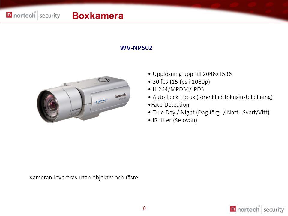 8 WV-NP502 • Upplösning upp till 2048x1536 • 30 fps (15 fps i 1080p) • H.264/MPEG4/JPEG • Auto Back Focus (förenklad fokusinstallällning) •Face Detection • True Day / Night (Dag-färg / Natt –Svart/Vitt) • IR filter (Se ovan) Kameran levereras utan objektiv och fäste.