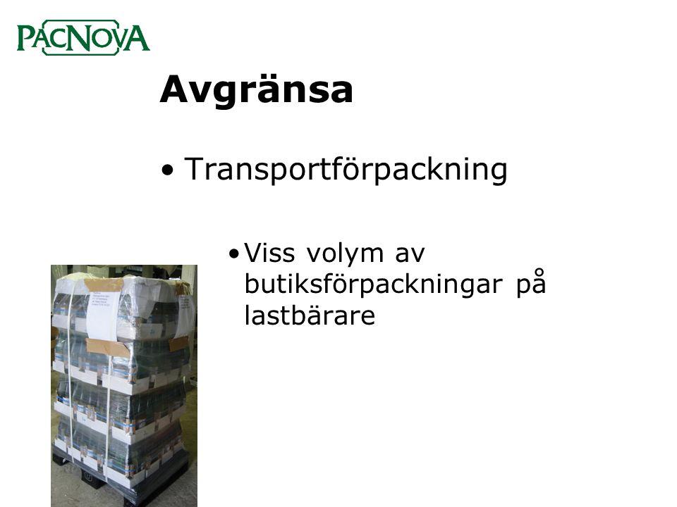 Avgränsa •Transportförpackning •Viss volym av butiksförpackningar på lastbärare
