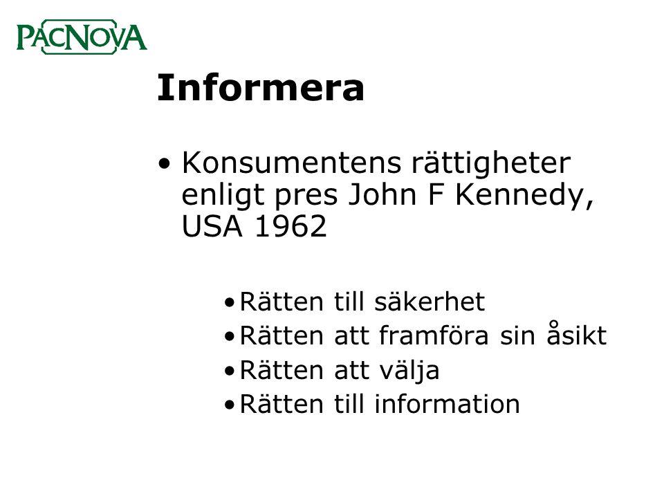 Informera •Konsumentens rättigheter enligt pres John F Kennedy, USA 1962 •Rätten till säkerhet •Rätten att framföra sin åsikt •Rätten att välja •Rätte