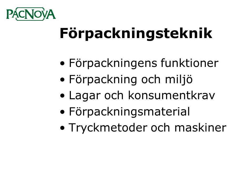Förpackning & miljö •Debatt om förpackningar som miljöbov har givit: •Lättare förp med samma styrka •Nya blekmetoder för papper •Optimering av pallutnyttjande •Nya förpackningslösningar