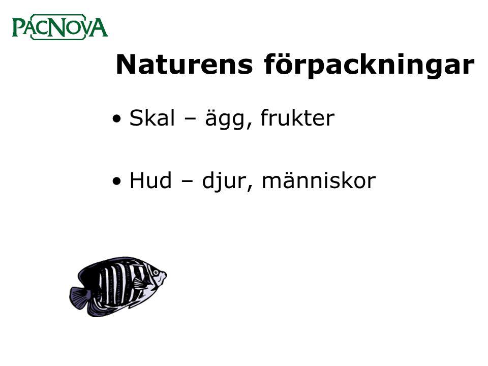 Naturens förpackningar •Skal – ägg, frukter •Hud – djur, människor