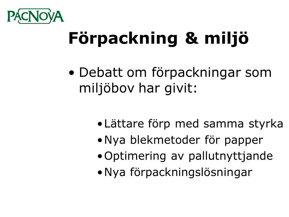 Förpackning & miljö •Debatt om förpackningar som miljöbov har givit: •Lättare förp med samma styrka •Nya blekmetoder för papper •Optimering av pallutn