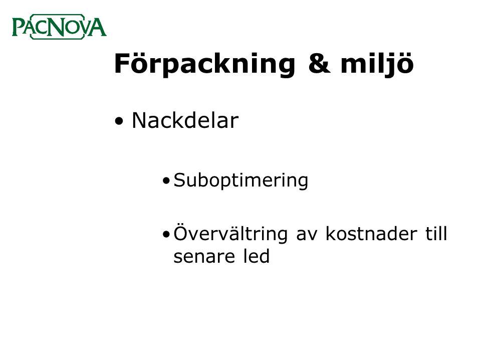 Förpackning & miljö •Nackdelar •Suboptimering •Övervältring av kostnader till senare led