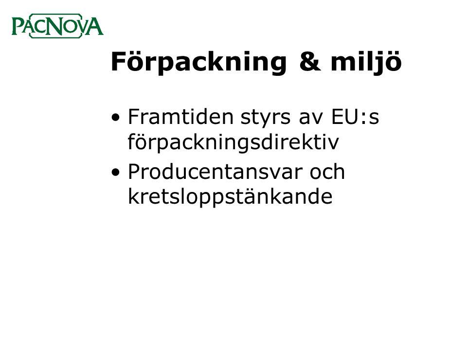 Förpackning & miljö •Framtiden styrs av EU:s förpackningsdirektiv •Producentansvar och kretsloppstänkande