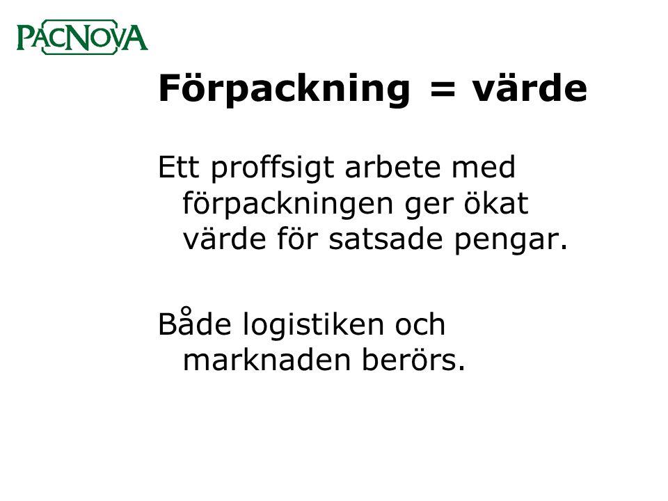 Förpackning = värde Ett proffsigt arbete med förpackningen ger ökat värde för satsade pengar. Både logistiken och marknaden berörs.