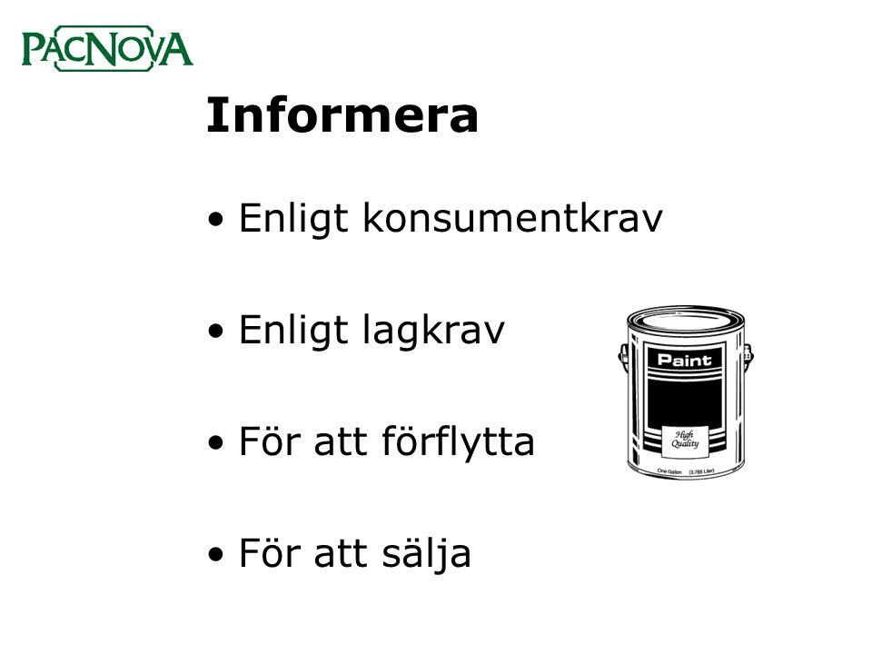 Informera •Enligt konsumentkrav •Enligt lagkrav •För att förflytta •För att sälja