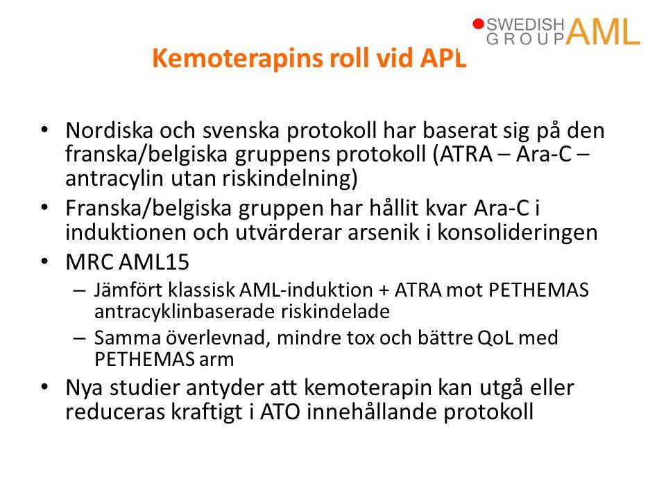 • Nordiska och svenska protokoll har baserat sig på den franska/belgiska gruppens protokoll (ATRA – Ara-C – antracylin utan riskindelning) • Franska/b