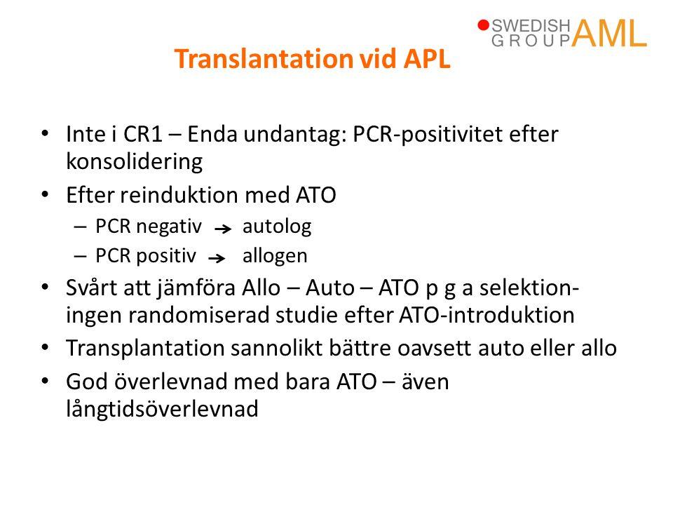 • Inte i CR1 – Enda undantag: PCR-positivitet efter konsolidering • Efter reinduktion med ATO – PCR negativ autolog – PCR positivallogen • Svårt att j