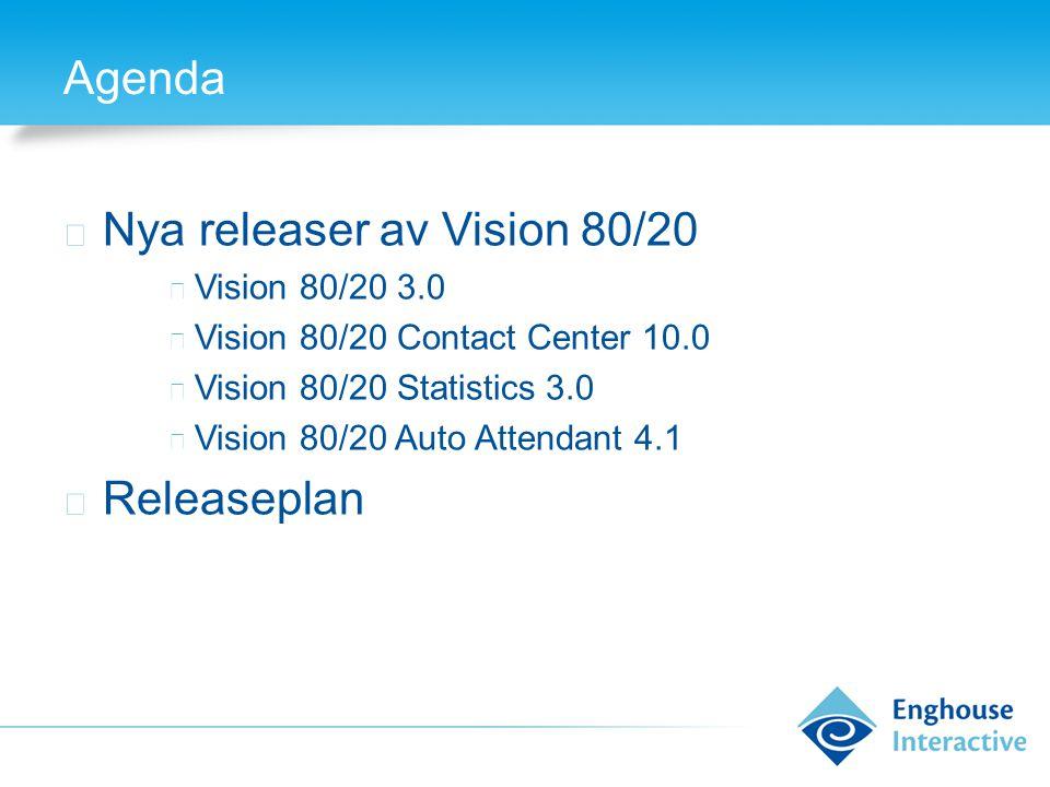 Agenda ◆ Nya releaser av Vision 80/20 ◆ Vision 80/20 3.0 ◆ Vision 80/20 Contact Center 10.0 ◆ Vision 80/20 Statistics 3.0 ◆ Vision 80/20 Auto Attendant 4.1 ◆ Releaseplan