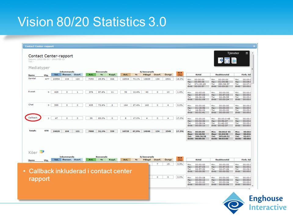 Vision 80/20 Statistics 3.0 •Callback inkluderad i contact center rapport