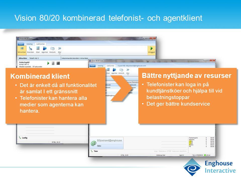Vision 80/20 kombinerad telefonist- och agentklient Kombinerad klient •Det är enkelt då all funktionalitet är samlat I ett gränssnitt •Telefonister kan hantera alla medier som agenterna kan hantera.