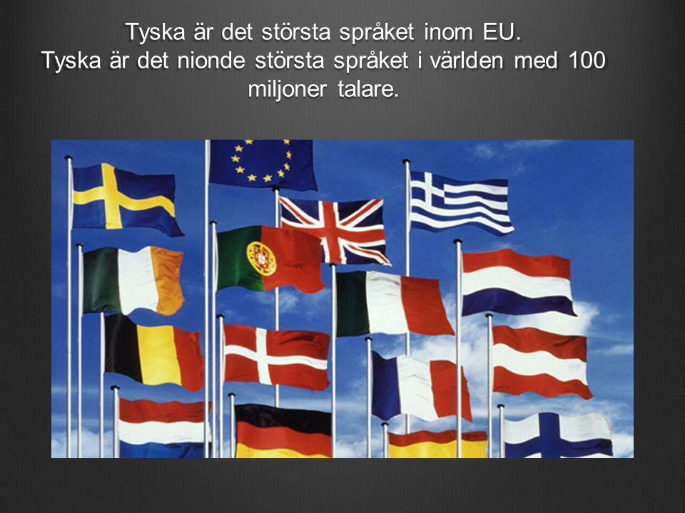 Tyska är det största språket inom EU. Tyska är det nionde största språket i världen med 100 miljoner talare.