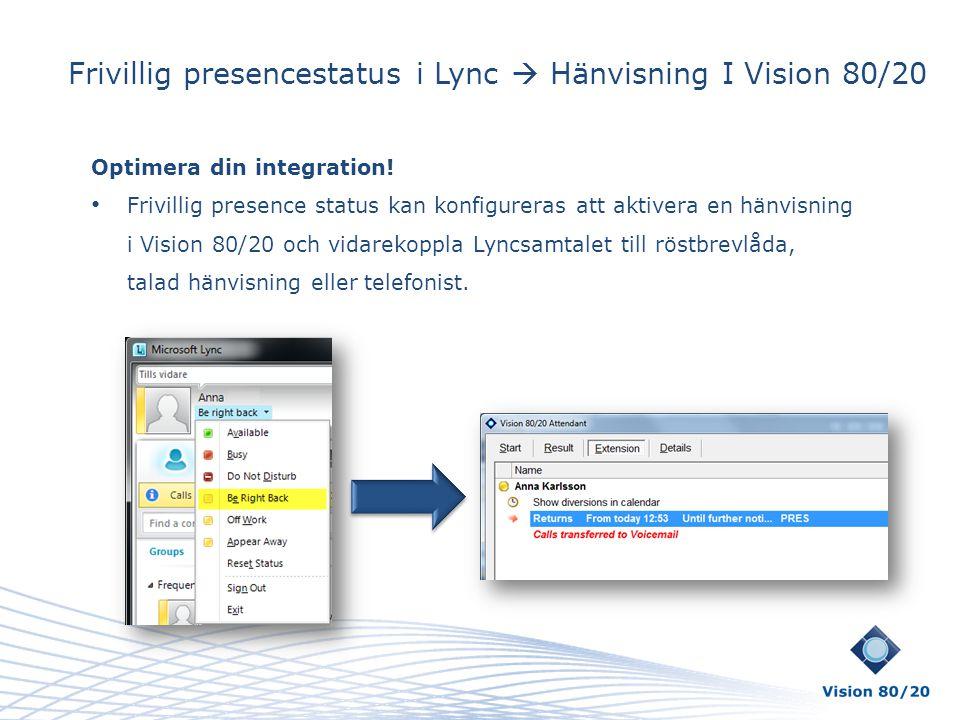 Frivillig presencestatus i Lync  Hänvisning I Vision 80/20 Optimera din integration! • Frivillig presence status kan konfigureras att aktivera en hän