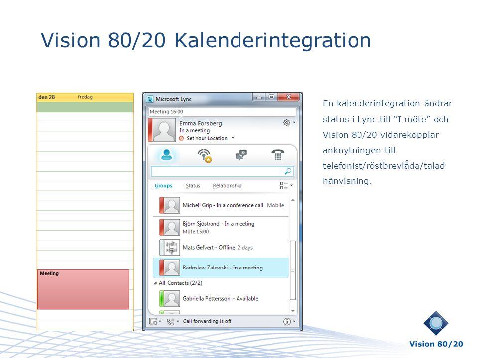 """Vision 80/20 Kalenderintegration En kalenderintegration ändrar status i Lync till """"I möte"""" och Vision 80/20 vidarekopplar anknytningen till telefonist"""