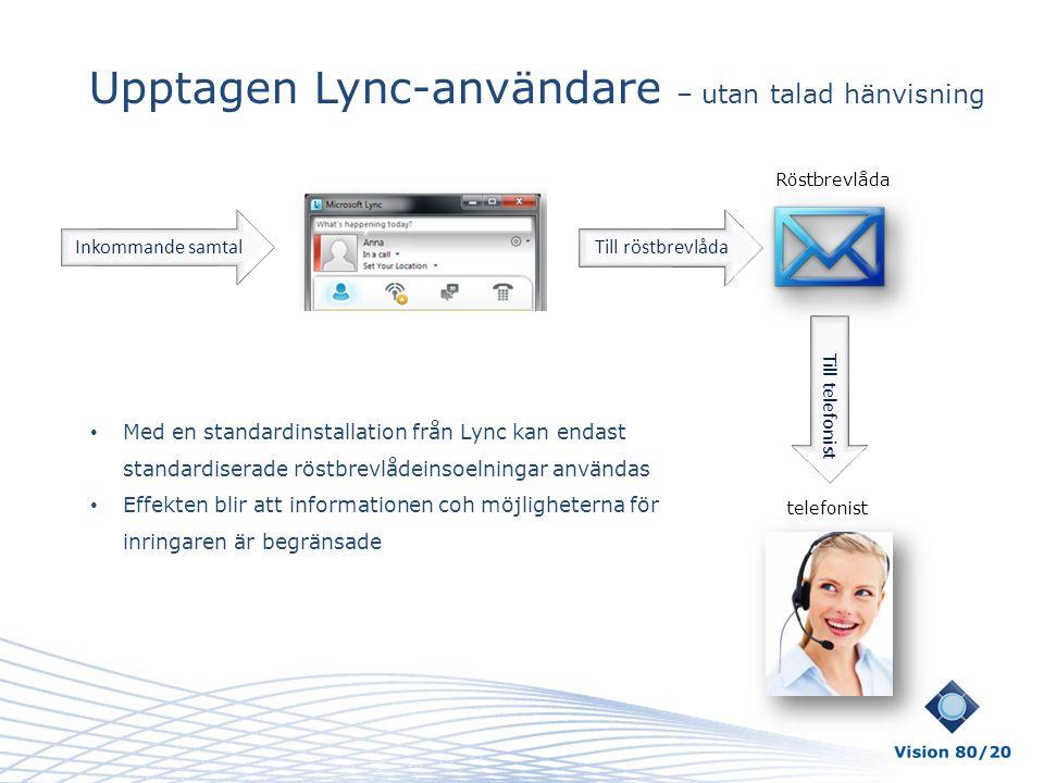 Upptagen Lync-användare – utan talad hänvisning Till röstbrevlåda Till telefonist Inkommande samtal Röstbrevlåda telefonist • Med en standardinstallat