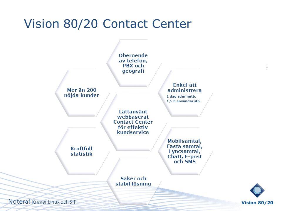 Vision 80/20 Contact Center Lättanvänt webbaserat Contact Center för effektiv kundservice Oberoende av telefon, PBX och geografi Enkel att administrer