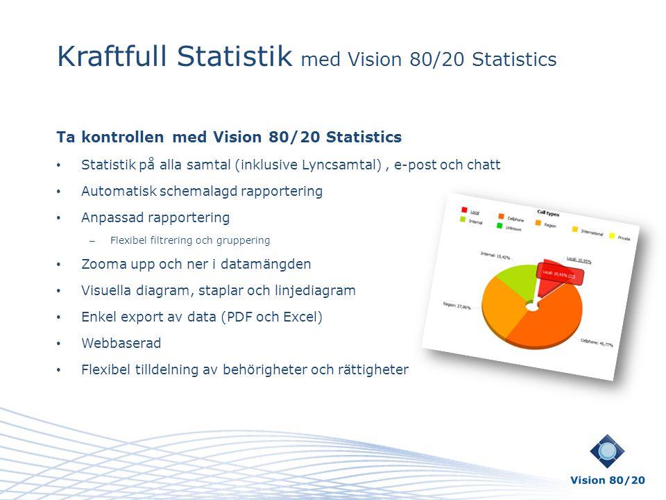 Kraftfull Statistik med Vision 80/20 Statistics Ta kontrollen med Vision 80/20 Statistics • Statistik på alla samtal (inklusive Lyncsamtal), e-post oc