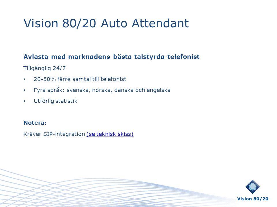 Vision 80/20 Auto Attendant Avlasta med marknadens bästa talstyrda telefonist Tillgänglig 24/7 • 20-50% färre samtal till telefonist • Fyra språk: sve