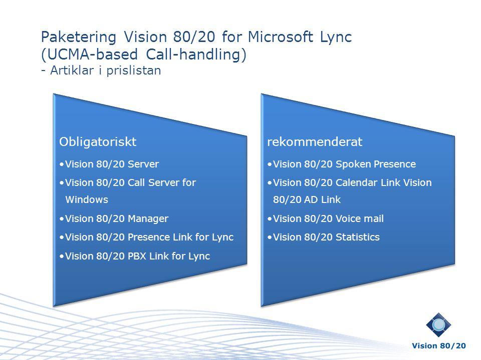 Paketering Vision 80/20 for Microsoft Lync (UCMA-based Call-handling) - Artiklar i prislistan Obligatoriskt •Vision 80/20 Server •Vision 80/20 Call Se