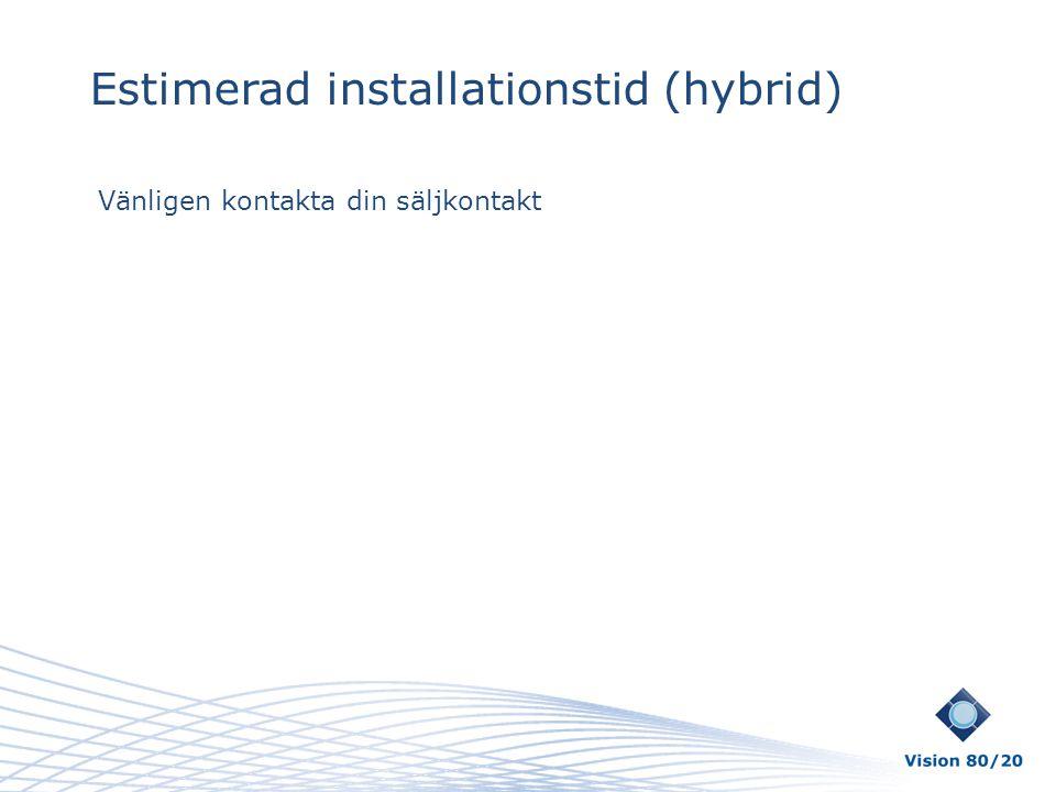 Estimerad installationstid (hybrid) Vänligen kontakta din säljkontakt