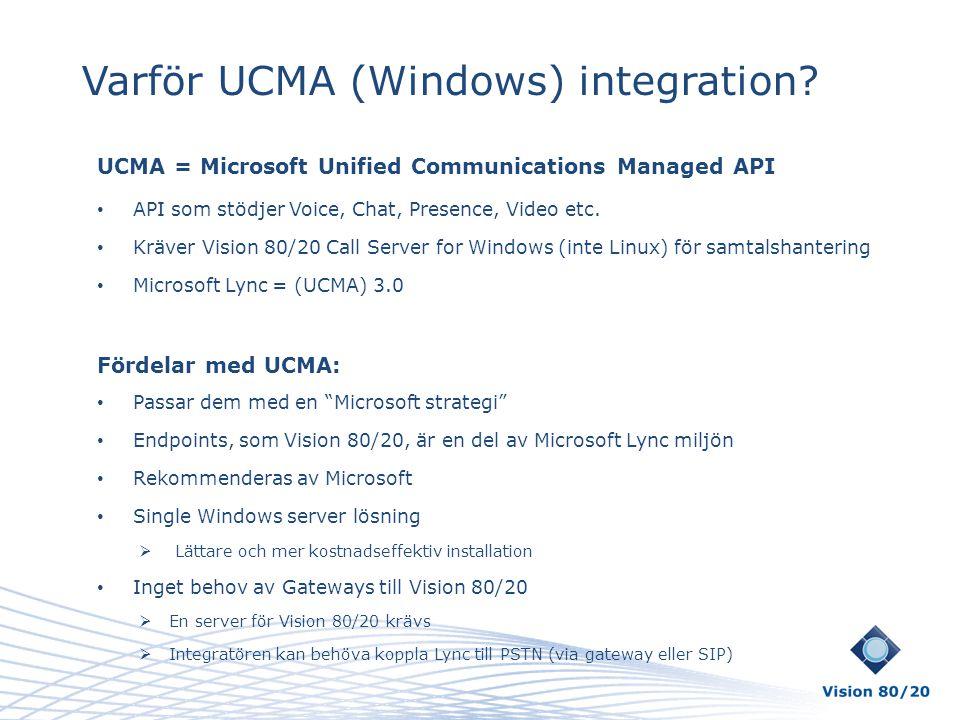 Varför UCMA (Windows) integration? UCMA = Microsoft Unified Communications Managed API • API som stödjer Voice, Chat, Presence, Video etc. • Kräver Vi
