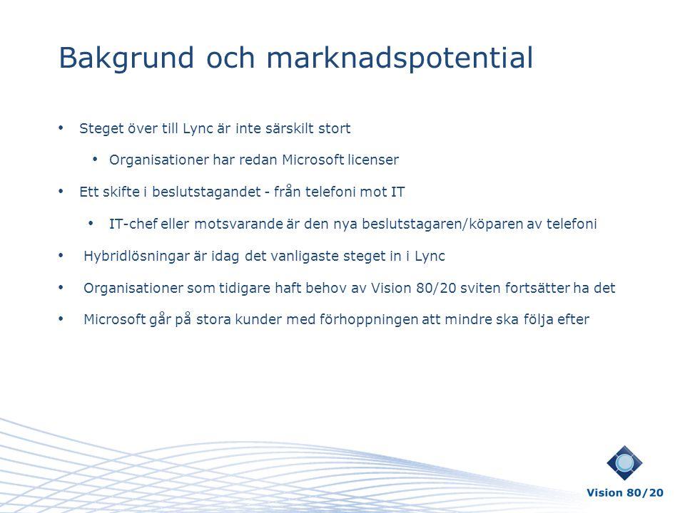• Steget över till Lync är inte särskilt stort • Organisationer har redan Microsoft licenser • Ett skifte i beslutstagandet - från telefoni mot IT • I