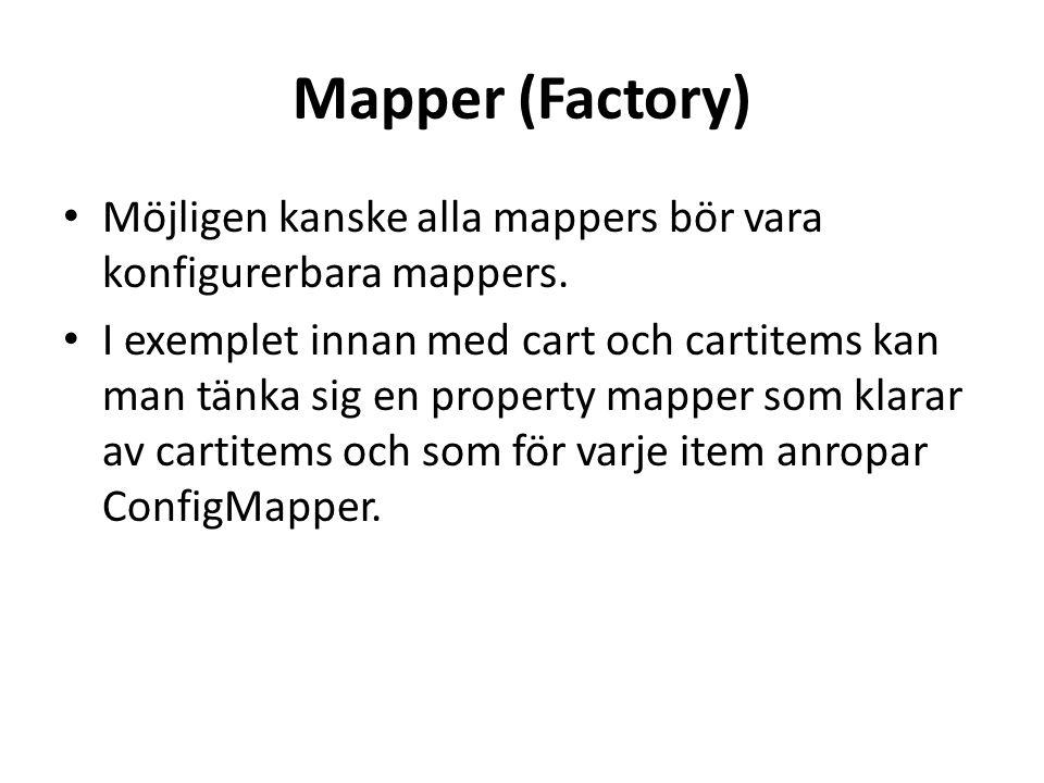 Mapper (Factory) • Möjligen kanske alla mappers bör vara konfigurerbara mappers.