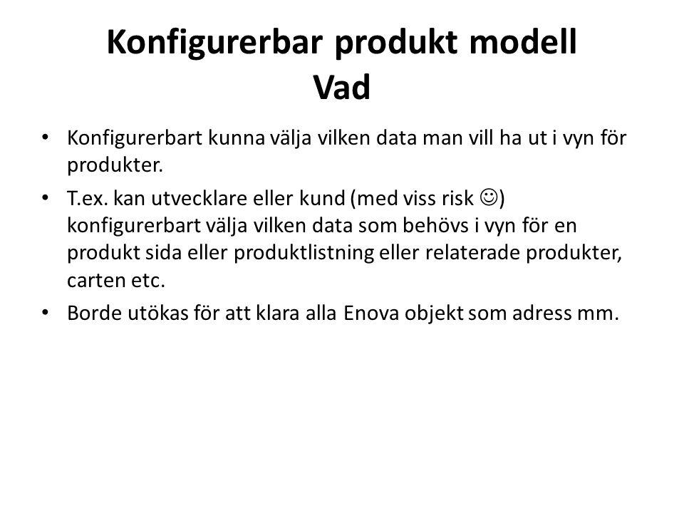 Konfigurerbar produkt modell Vad • Konfigurerbart kunna välja vilken data man vill ha ut i vyn för produkter.