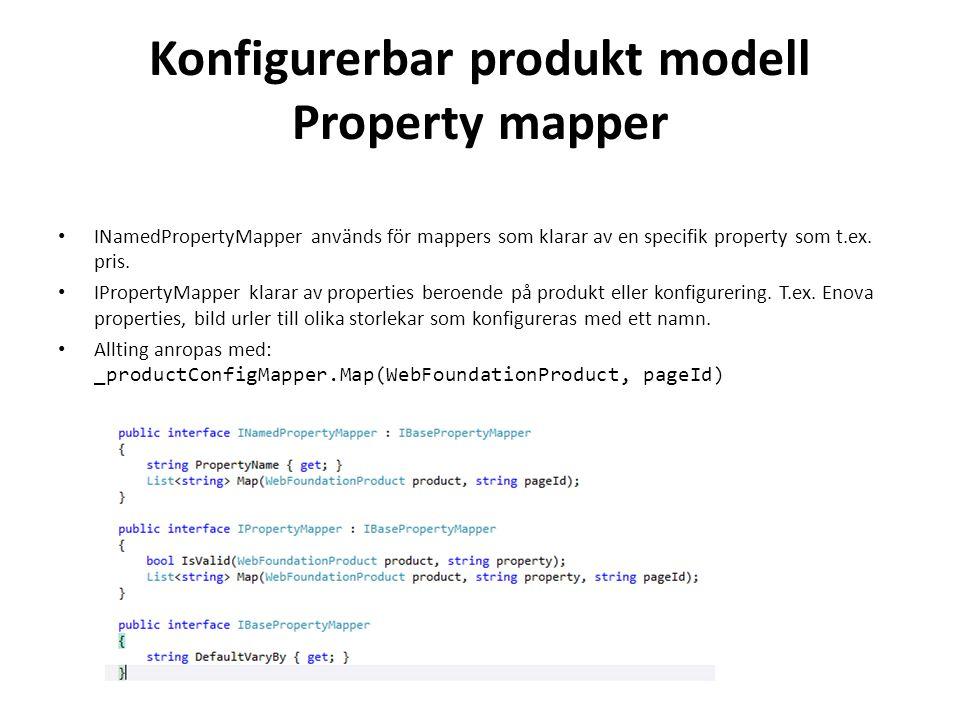 Konfigurerbar produkt modell Property mapper • INamedPropertyMapper används för mappers som klarar av en specifik property som t.ex.