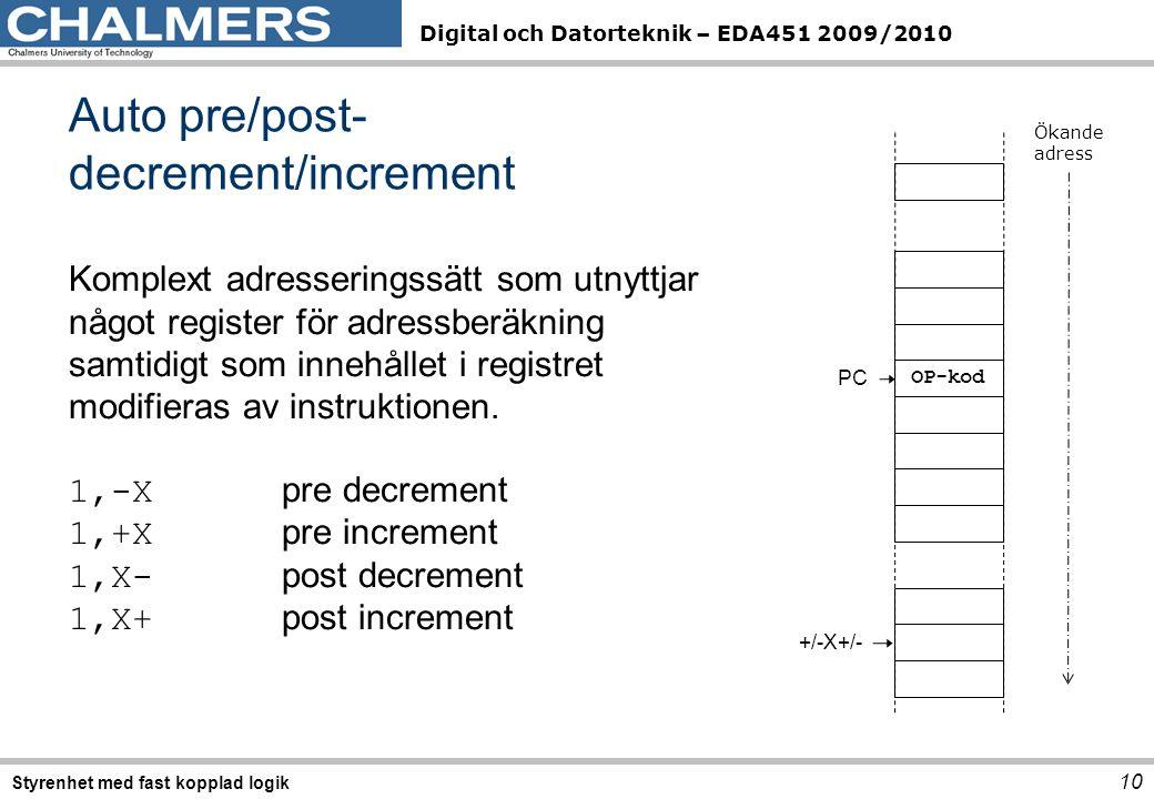 Digital och Datorteknik – EDA451 2009/2010 Auto pre/post- decrement/increment 10 Styrenhet med fast kopplad logik Komplext adresseringssätt som utnyttjar något register för adressberäkning samtidigt som innehållet i registret modifieras av instruktionen.