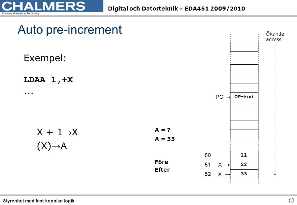 Digital och Datorteknik – EDA451 2009/2010 12 Styrenhet med fast kopplad logik Auto pre-increment Exempel: LDAA1,+X...