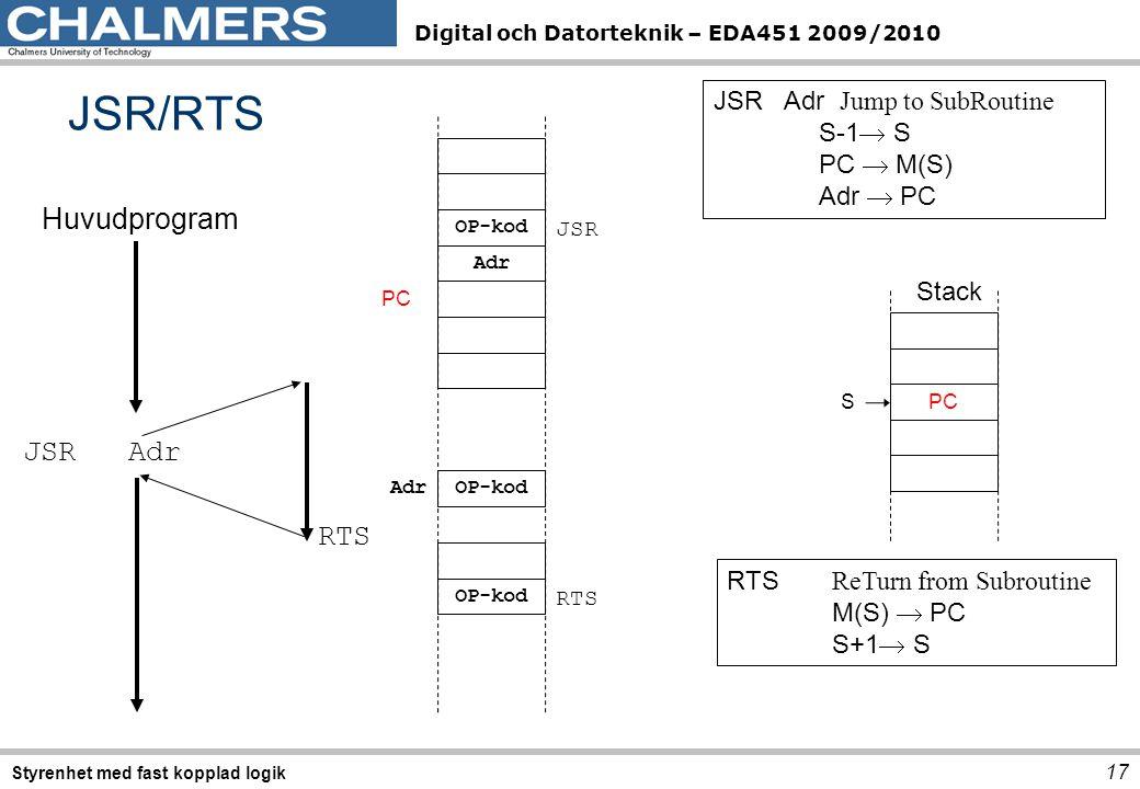 Digital och Datorteknik – EDA451 2009/2010 JSR/RTS 17 Styrenhet med fast kopplad logik Huvudprogram JSR Adr RTS OP-kod Adr OP-kod Adr JSR RTS PC JSR Adr Jump to SubRoutine S-1  S PC  M(S) Adr  PC PC S RTS ReTurn from Subroutine M(S)  PC S+1  S Stack