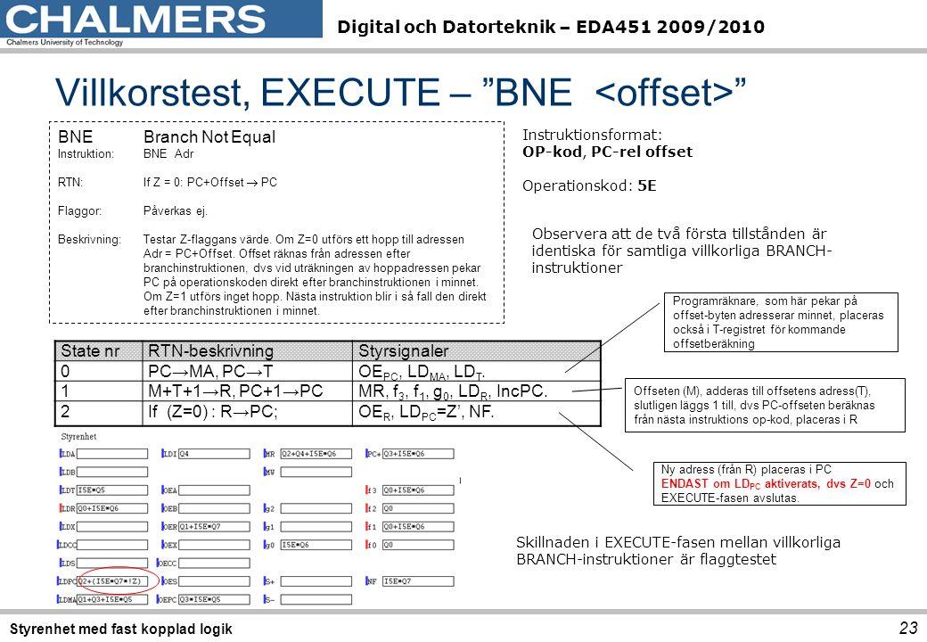 Digital och Datorteknik – EDA451 2009/2010 State nrRTN-beskrivningStyrsignaler 0PC→MA, PC→TOE PC, LD MA, LD T. 1M+T+1→R, PC+1→PCMR, f 3, f 1, g 0, LD