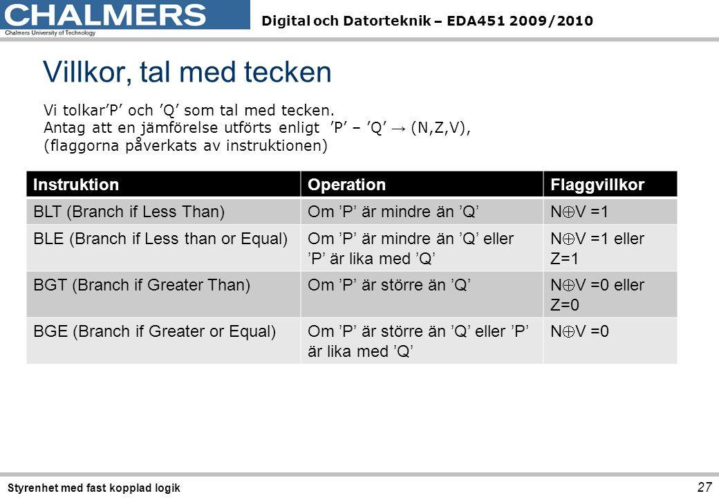 Digital och Datorteknik – EDA451 2009/2010 Villkor, tal med tecken 27 Styrenhet med fast kopplad logik Vi tolkar'P' och 'Q' som tal med tecken.