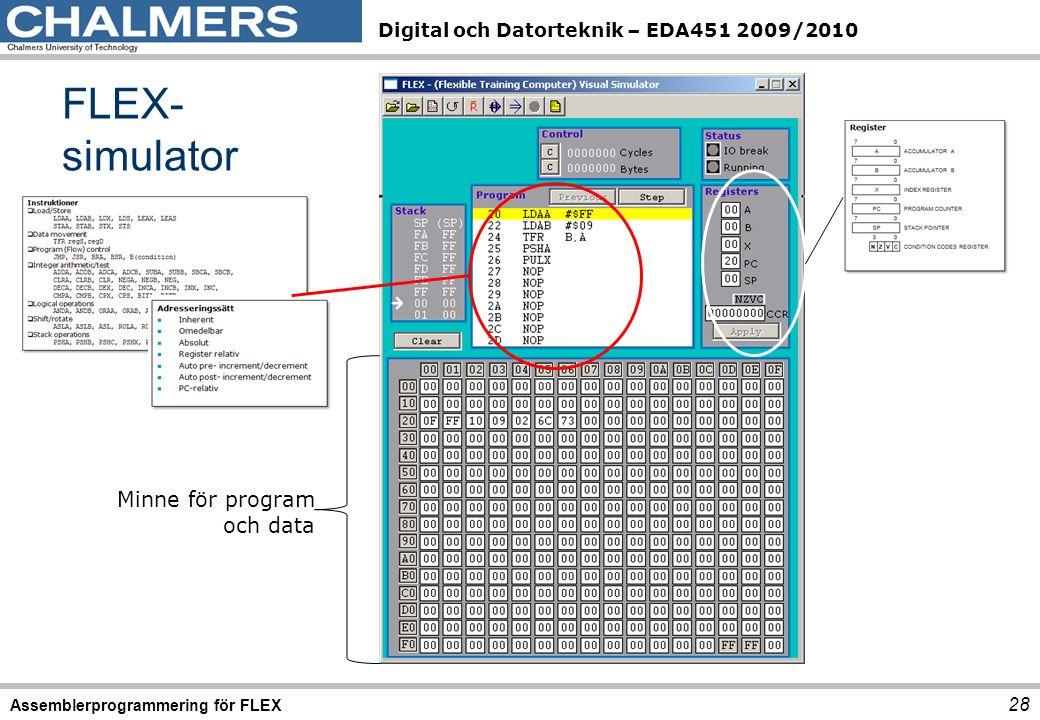 Digital och Datorteknik – EDA451 2009/2010 FLEX- simulator 28 Assemblerprogrammering för FLEX Minne för program och data
