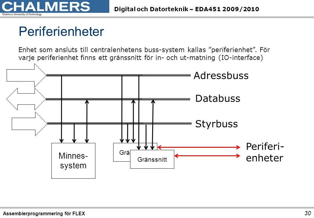 Digital och Datorteknik – EDA451 2009/2010 Periferienheter 30 Assemblerprogrammering för FLEX Enhet som ansluts till centralenhetens buss-system kallas periferienhet .