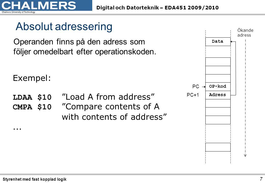 Digital och Datorteknik – EDA451 2009/2010 Absolut adressering 7 Styrenhet med fast kopplad logik Exempel: LDAA$10 Load A from address CMPA$10 Compare contents of A with contents of address ...