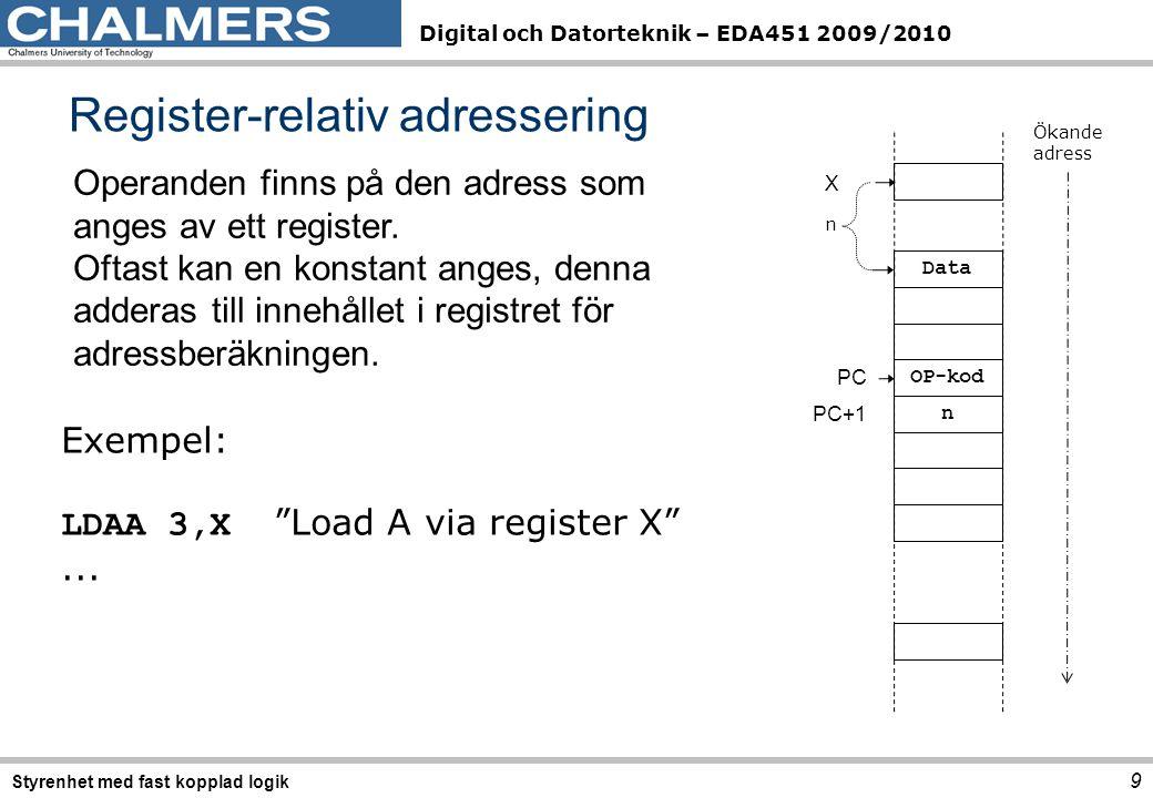 Digital och Datorteknik – EDA451 2009/2010 Register-relativ adressering 9 Styrenhet med fast kopplad logik Operanden finns på den adress som anges av ett register.